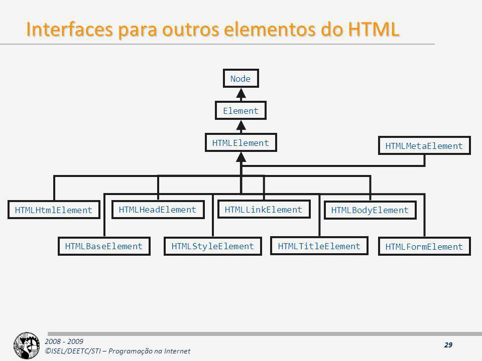 2008 - 2009 ©ISEL/DEETC/STI – Programação na Internet Interfaces para outros elementos do HTML 29 Node Element HTMLElement HTMLHtmlElement HTMLHeadEle