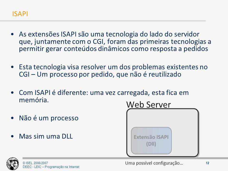 © ISEL 2006/2007 DEEC - LEIC – Programação na Internet 12 ISAPI As extensões ISAPI são uma tecnologia do lado do servidor que, juntamente com o CGI, f