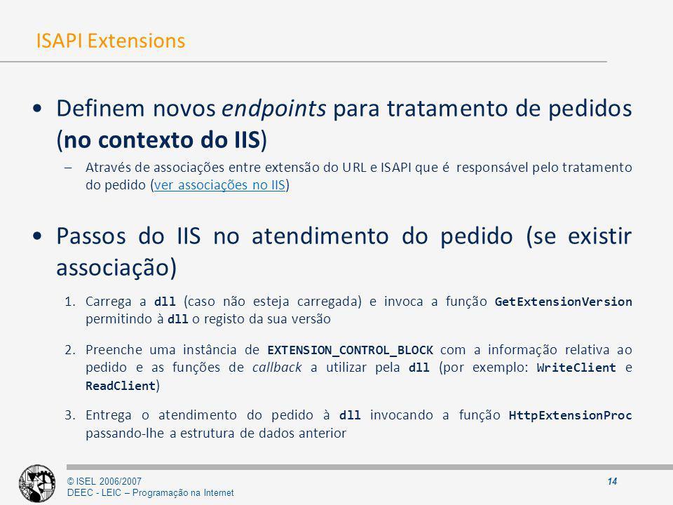 © ISEL 2006/2007 DEEC - LEIC – Programação na Internet 14 ISAPI Extensions Definem novos endpoints para tratamento de pedidos (no contexto do IIS) –At