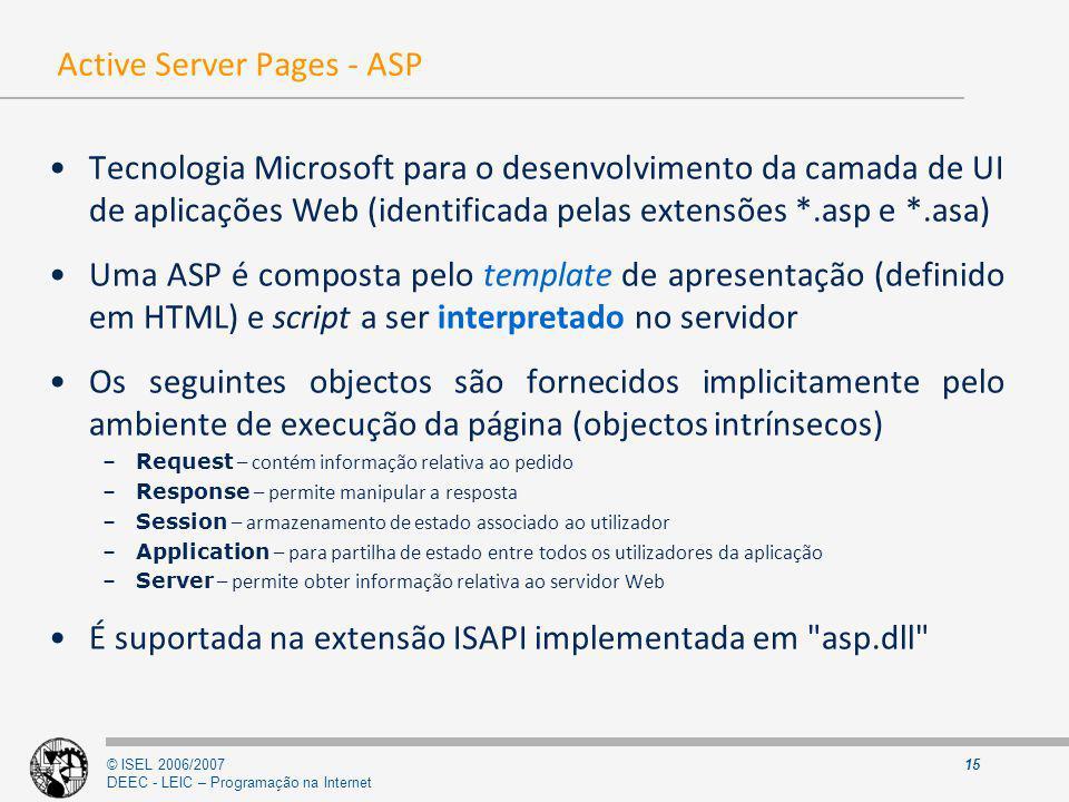 © ISEL 2006/2007 DEEC - LEIC – Programação na Internet 15 Active Server Pages - ASP Tecnologia Microsoft para o desenvolvimento da camada de UI de apl