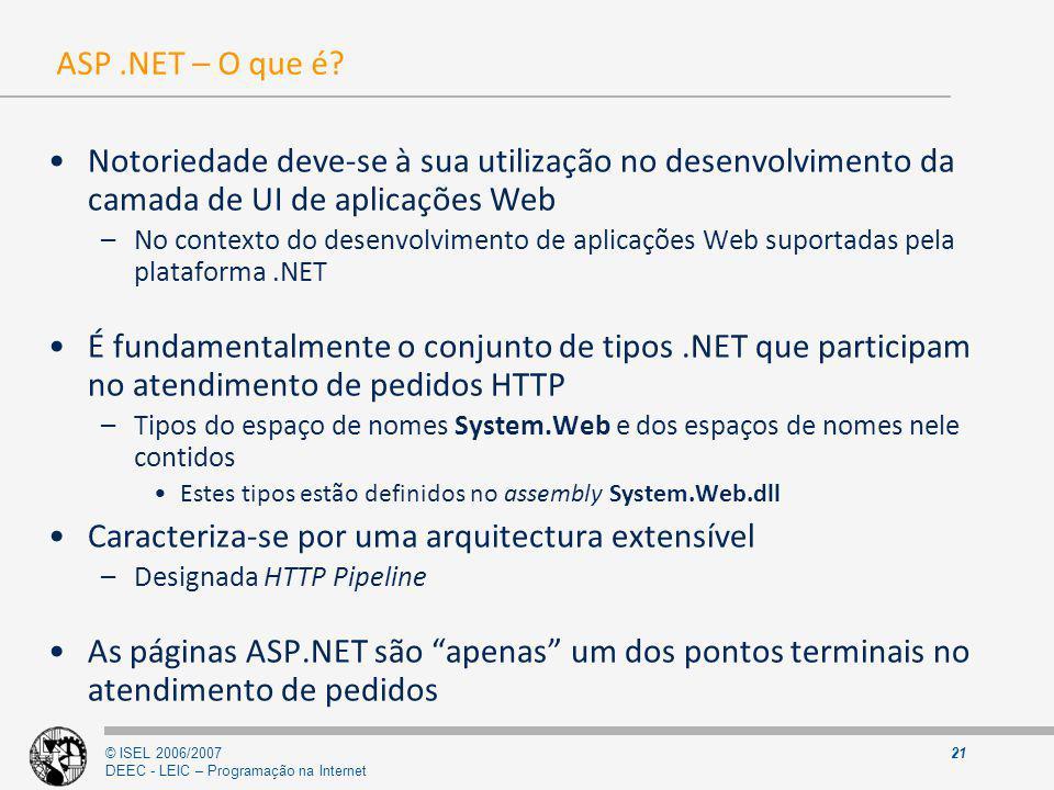 © ISEL 2006/2007 DEEC - LEIC – Programação na Internet 21 ASP.NET – O que é? Notoriedade deve-se à sua utilização no desenvolvimento da camada de UI d