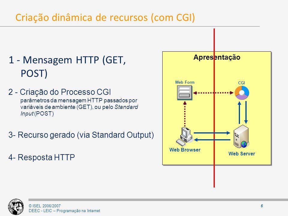 © ISEL 2006/2007 DEEC - LEIC – Programação na Internet 7 Variáveis de ambiente VariávelDescrição GATEWAY_INTERFACE versão CGI SERVER_NAME nome ou endereço IP do servidor SERVER_SOFTWARE nome ou versão do software do servidor SERVER_PROTOCOL protocolo e versão usados pelo servidor (HTTP 1.X) SERVER_PORT porto do servidor REQUEST_METHOD método usado no pedido (GET, POST) PATH_INFO informação sobre a PATH do CGI PATH_TRANSLATED raiz do servidor + PATH_INFO SCRIPT_NAME nome do script CGI DOCUMENT_ROOT raiz do servidor WWW QUERY_STRING query string enviada através do método GET REMOTE_HOST nome do cliente REMOTE_ADDR endereço IP do cliente AUTH_TYPE método de autenticação do cliente REMOTE_USER nome do utilizador remoto (cliente) REMOTE_IDENT identificação do cliente (RFC) CONTENT_TYPE cabeçalho HTTP MIME Content-Type CONTENT_LENGTH número de bytes a ler do stdin (POST) HTTP_FROM Cabeçalho HTTP MIME From (email do cliente) HTTP_ACCEPT Cabeçalho HTTP MIME Accept (tipos aceites pelo cliente) HTTP_USER_AGENT Cabeçalho HTTP MIME User-Agent (aplicação cliente) HTTP_REFERER Cabeçalho HTTP MIME Referer (URL anterior)