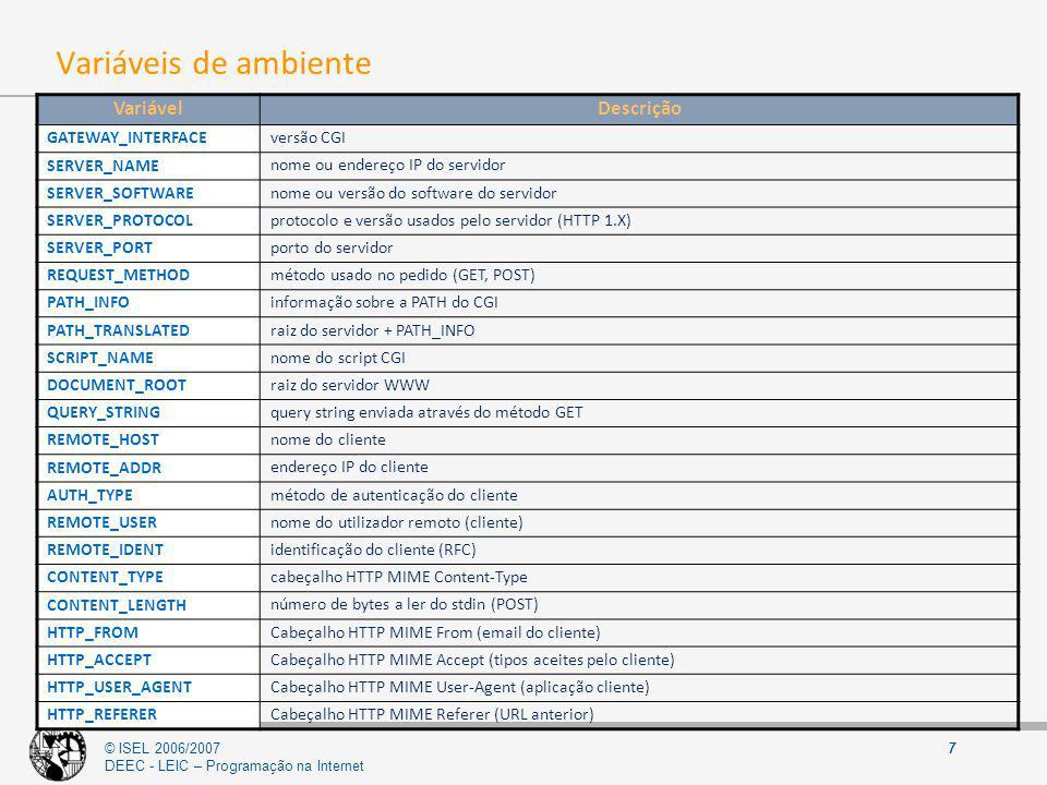© ISEL 2006/2007 DEEC - LEIC – Programação na Internet 7 Variáveis de ambiente VariávelDescrição GATEWAY_INTERFACE versão CGI SERVER_NAME nome ou ende