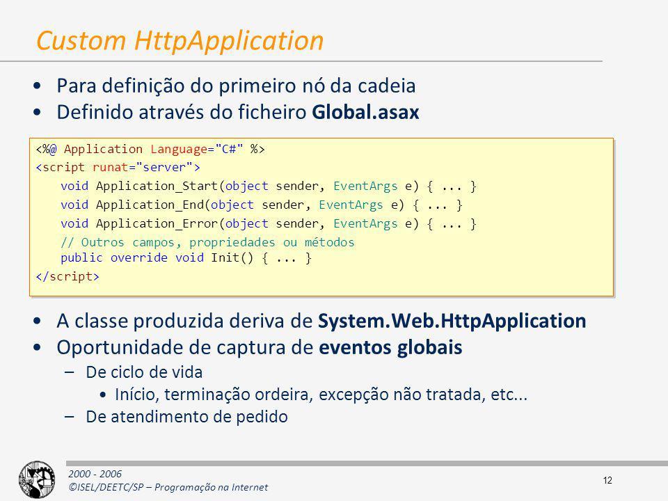 2000 - 2006 ©ISEL/DEETC/SP – Programação na Internet 12 Custom HttpApplication Para definição do primeiro nó da cadeia Definido através do ficheiro Gl