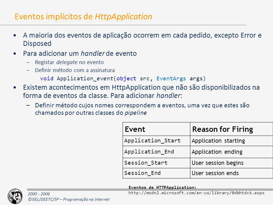 2000 - 2006 ©ISEL/DEETC/SP – Programação na Internet Eventos implícitos de HttpApplication A maioria dos eventos de aplicação ocorrem em cada pedido,