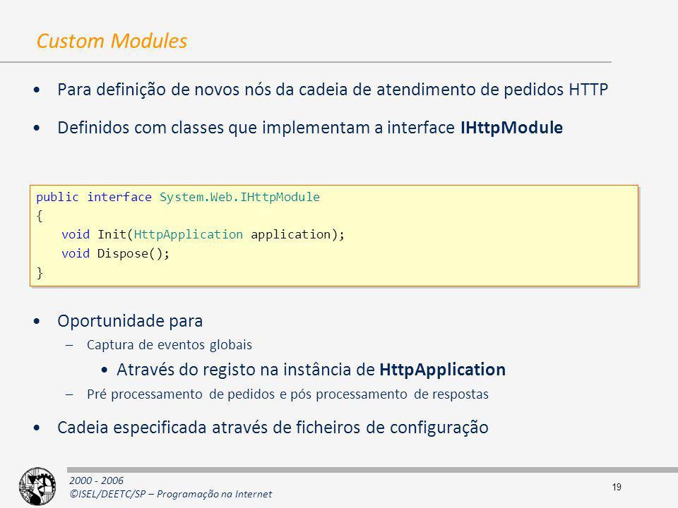2000 - 2006 ©ISEL/DEETC/SP – Programação na Internet 19 Custom Modules Para definição de novos nós da cadeia de atendimento de pedidos HTTP Definidos