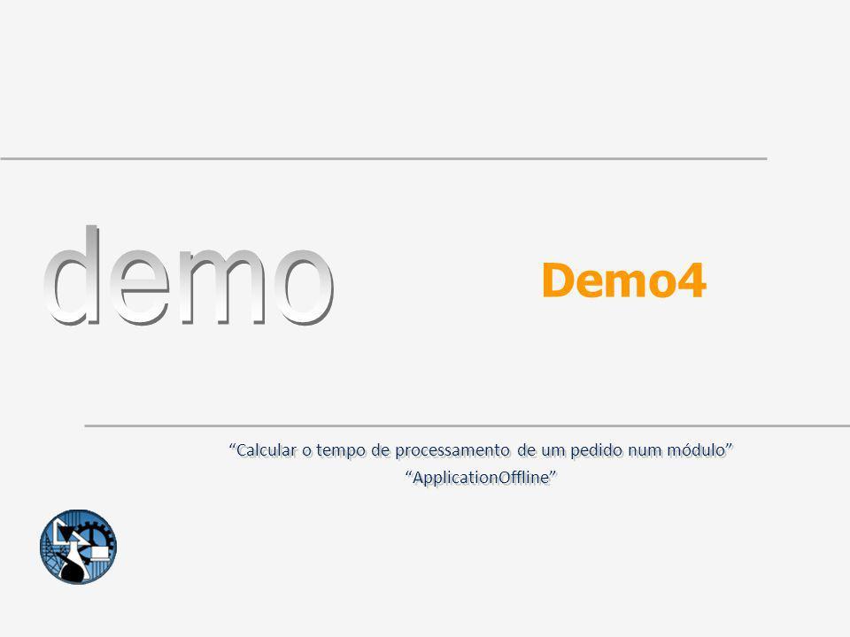 Demo4 Calcular o tempo de processamento de um pedido num módulo ApplicationOffline Calcular o tempo de processamento de um pedido num módulo Applicati