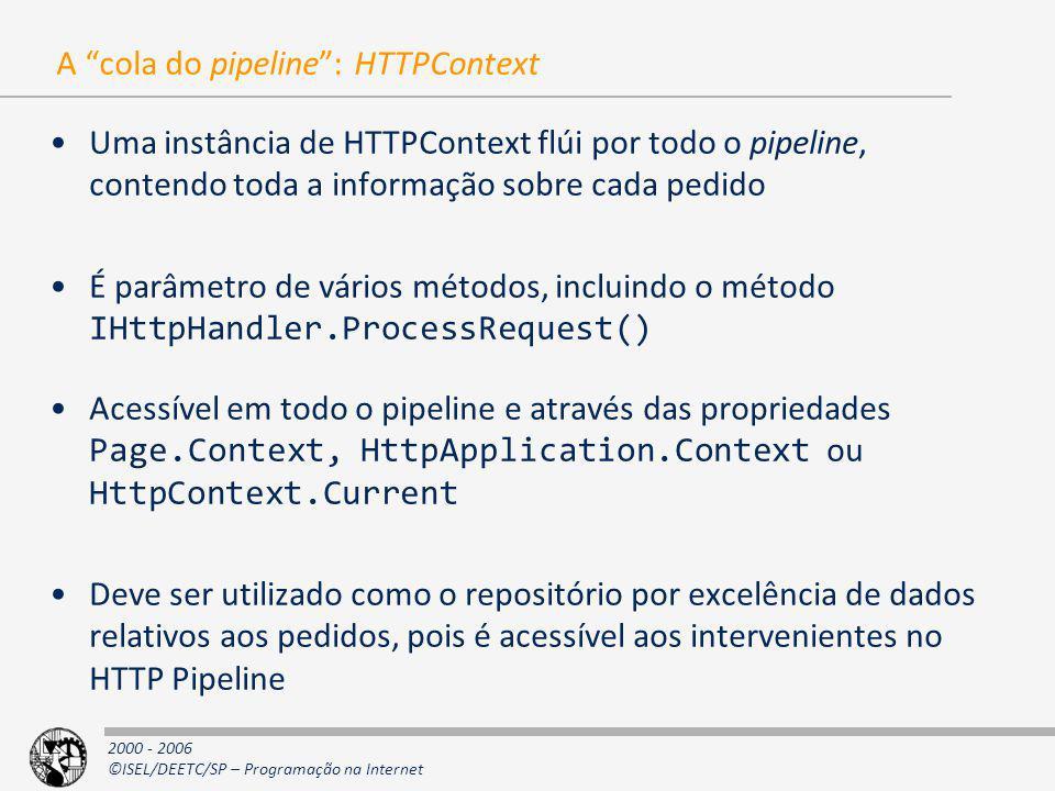 2000 - 2006 ©ISEL/DEETC/SP – Programação na Internet A cola do pipeline: HTTPContext Uma instância de HTTPContext flúi por todo o pipeline, contendo t