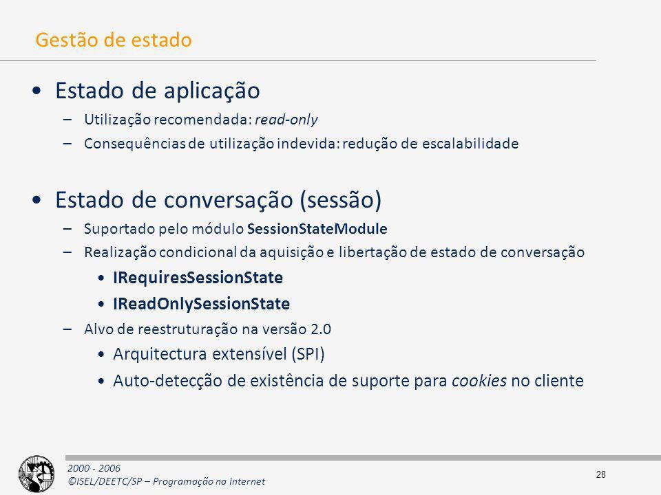 2000 - 2006 ©ISEL/DEETC/SP – Programação na Internet 28 Gestão de estado Estado de aplicação –Utilização recomendada: read-only –Consequências de util