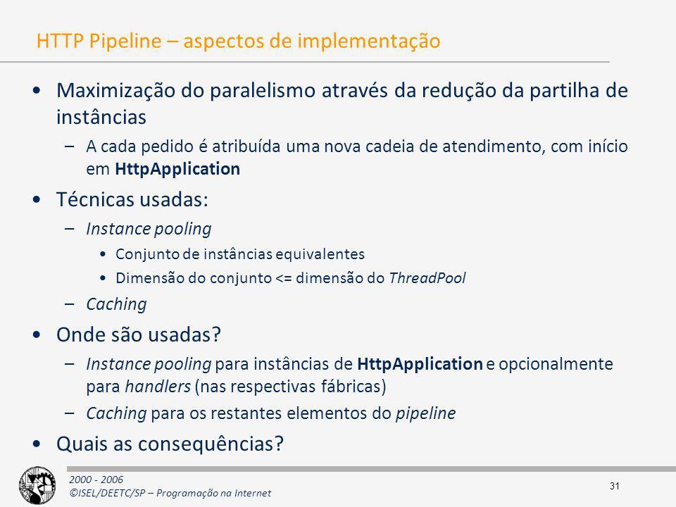 2000 - 2006 ©ISEL/DEETC/SP – Programação na Internet 31 HTTP Pipeline – aspectos de implementação Maximização do paralelismo através da redução da par
