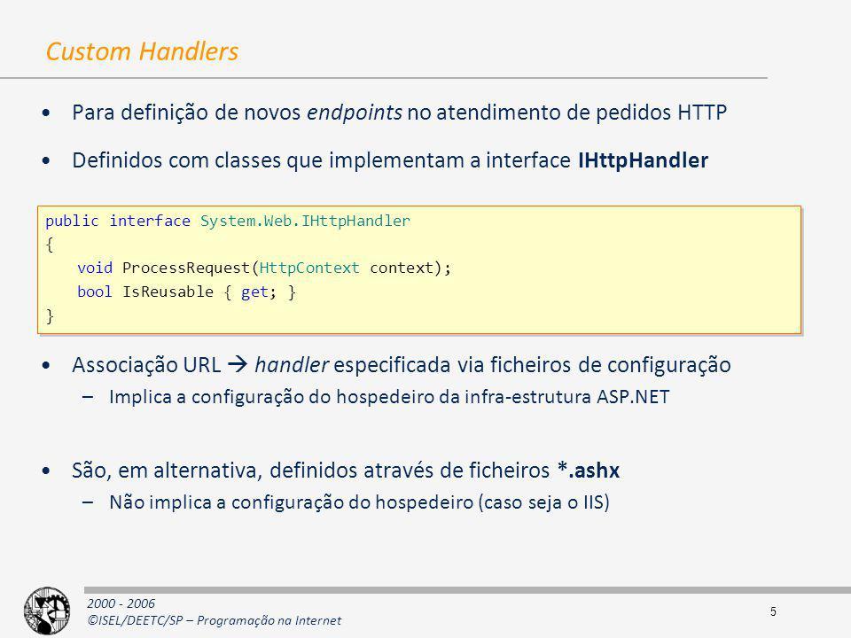 2000 - 2006 ©ISEL/DEETC/SP – Programação na Internet 5 Custom Handlers Para definição de novos endpoints no atendimento de pedidos HTTP Definidos com
