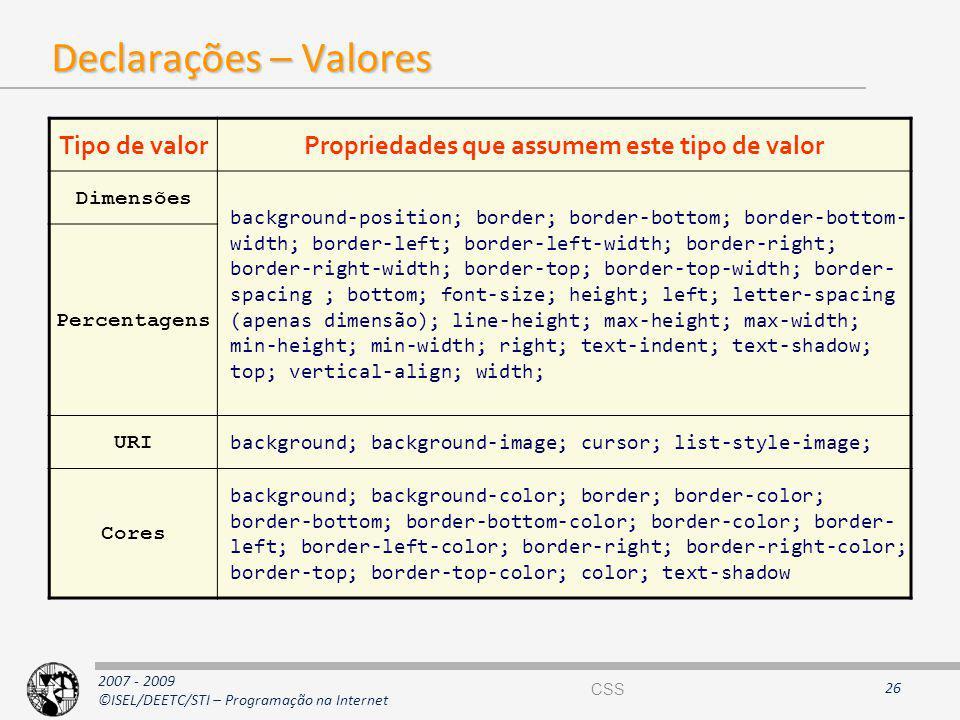 2007 - 2009 ©ISEL/DEETC/STI – Programação na Internet Declarações – Valores 26 Tipo de valorPropriedades que assumem este tipo de valor Dimensões back