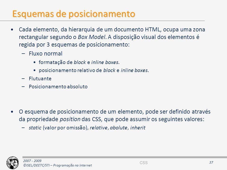 2007 - 2009 ©ISEL/DEETC/STI – Programação na Internet Esquemas de posicionamento Cada elemento, da hierarquia de um documento HTML, ocupa uma zona rec
