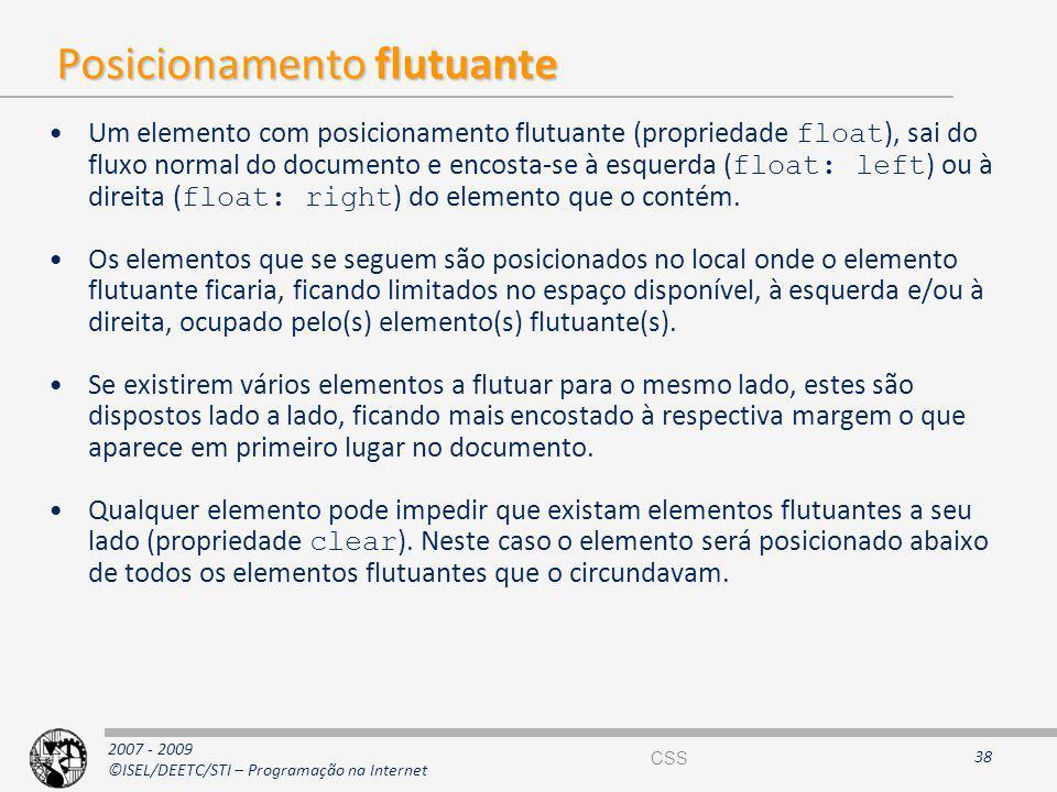 2007 - 2009 ©ISEL/DEETC/STI – Programação na Internet Posicionamento flutuante Um elemento com posicionamento flutuante (propriedade float ), sai do f
