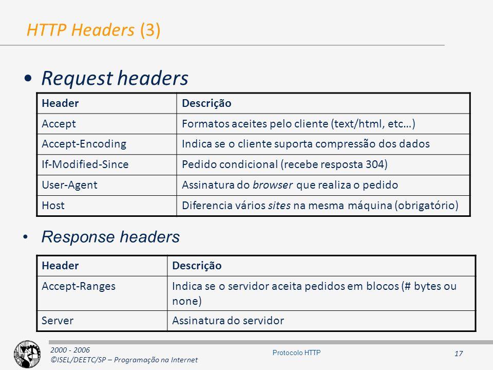 2000 - 2006 ©ISEL/DEETC/SP – Programação na Internet 17 Protocolo HTTP HTTP Headers (3) Request headers HeaderDescrição AcceptFormatos aceites pelo cliente (text/html, etc…) Accept-EncodingIndica se o cliente suporta compressão dos dados If-Modified-SincePedido condicional (recebe resposta 304) User-AgentAssinatura do browser que realiza o pedido HostDiferencia vários sites na mesma máquina (obrigatório) HeaderDescrição Accept-RangesIndica se o servidor aceita pedidos em blocos (# bytes ou none) ServerAssinatura do servidor Response headers