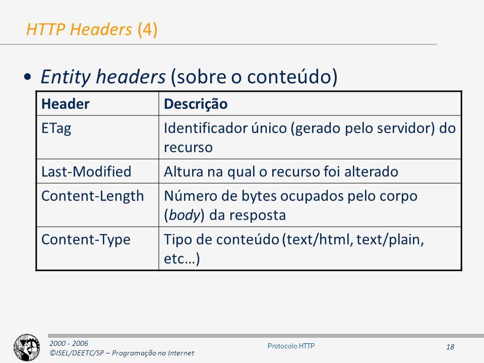 2000 - 2006 ©ISEL/DEETC/SP – Programação na Internet 18 Protocolo HTTP HTTP Headers (4) Entity headers (sobre o conteúdo) HeaderDescrição ETagIdentificador único (gerado pelo servidor) do recurso Last-ModifiedAltura na qual o recurso foi alterado Content-LengthNúmero de bytes ocupados pelo corpo (body) da resposta Content-TypeTipo de conteúdo (text/html, text/plain, etc…)