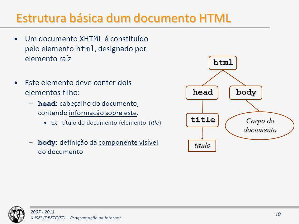 2007 - 2011 ©ISEL/DEETC/STI – Programação na Internet Estrutura básica dum documento HTML Um documento XHTML é constituído pelo elemento html, designado por elemento raíz Este elemento deve conter dois elementos filho: –head –head : cabeçalho do documento, contendo informação sobre este.