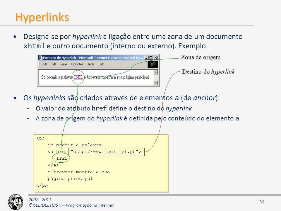 2007 - 2011 ©ISEL/DEETC/STI – Programação na Internet Hyperlinks Designa-se por hyperlink a ligação entre uma zona de um documento xhtml e outro documento (interno ou externo).