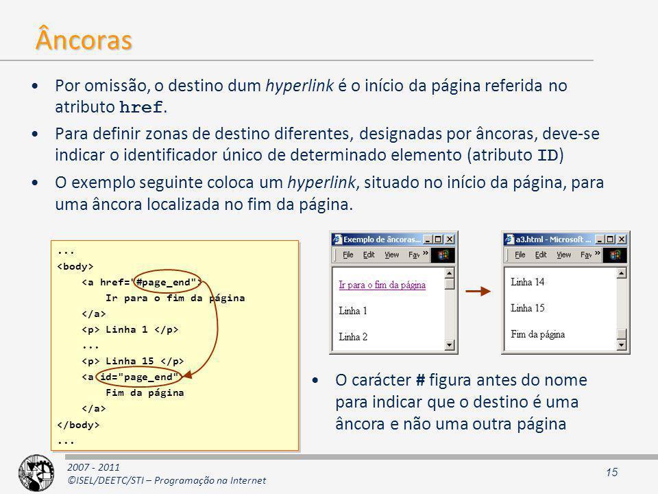 2007 - 2011 ©ISEL/DEETC/STI – Programação na Internet Âncoras Por omissão, o destino dum hyperlink é o início da página referida no atributo href.