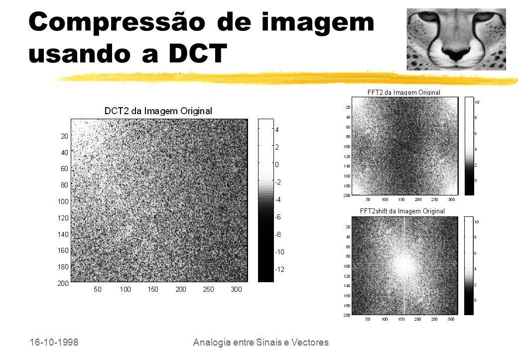 16-10-1998Analogia entre Sinais e Vectores Compressão de imagem usando a DCT