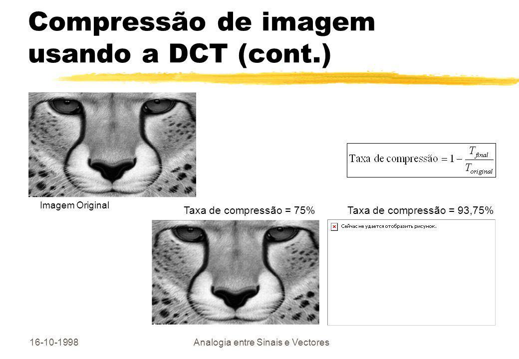 16-10-1998Analogia entre Sinais e Vectores Compressão de imagem usando a DCT (cont.) Imagem Original Taxa de compressão = 75%Taxa de compressão = 93,7