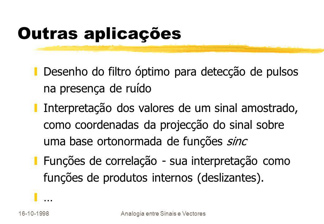 16-10-1998Analogia entre Sinais e Vectores Outras aplicações yDesenho do filtro óptimo para detecção de pulsos na presença de ruído yInterpretação dos