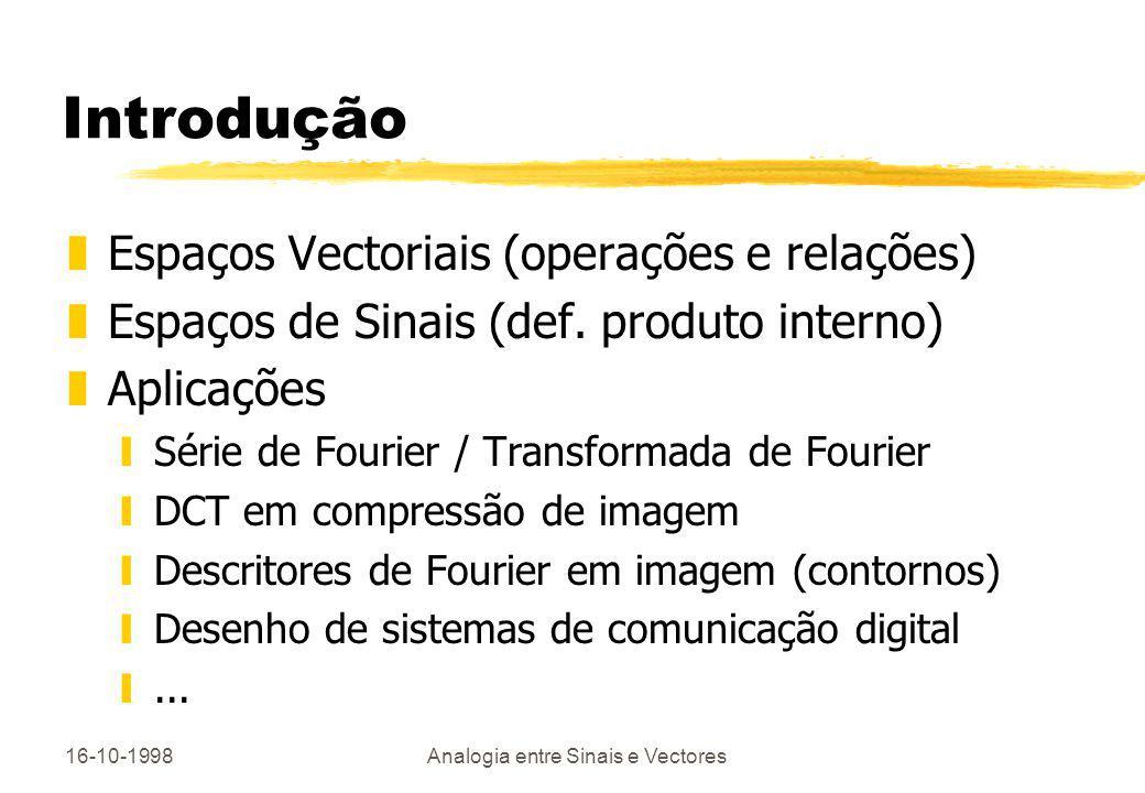 16-10-1998Analogia entre Sinais e Vectores Introdução zEspaços Vectoriais (operações e relações) zEspaços de Sinais (def. produto interno) zAplicações