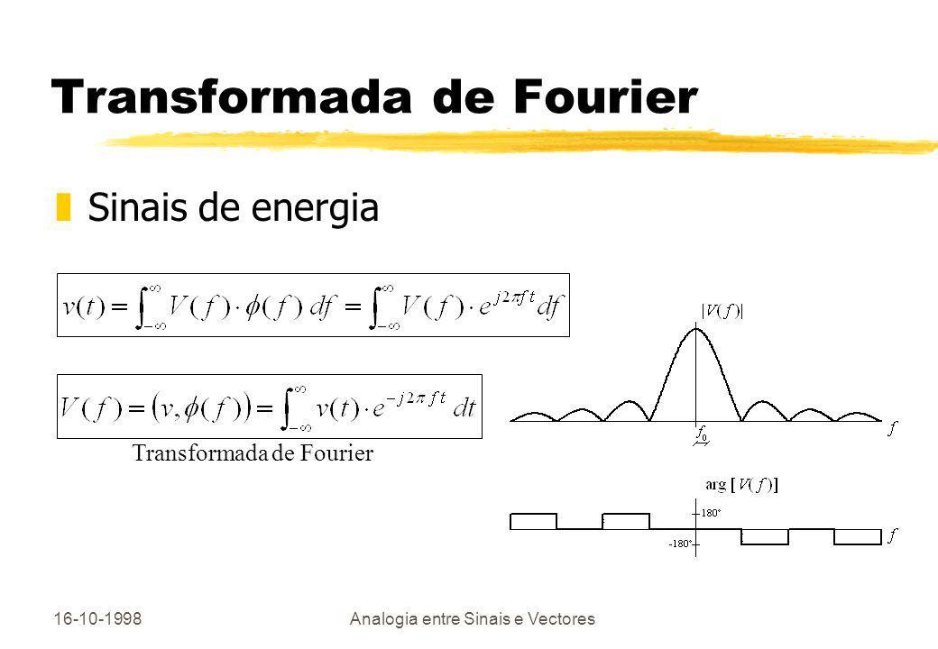 16-10-1998Analogia entre Sinais e Vectores Transformadas Discretas DFT e DCT zTransformadas discretas de sinais 1D e 2D yRepresentação do sinal original - base de funções/imagens yFiltragem, compressão de dados, extracção de características e outras aplicações zDFT e DCT ( Discrete Fourier/Cosine Transform ) yImplementação em O(Nlog 2 N) operações com o algoritmo FFT (Fast Fourier Transform)