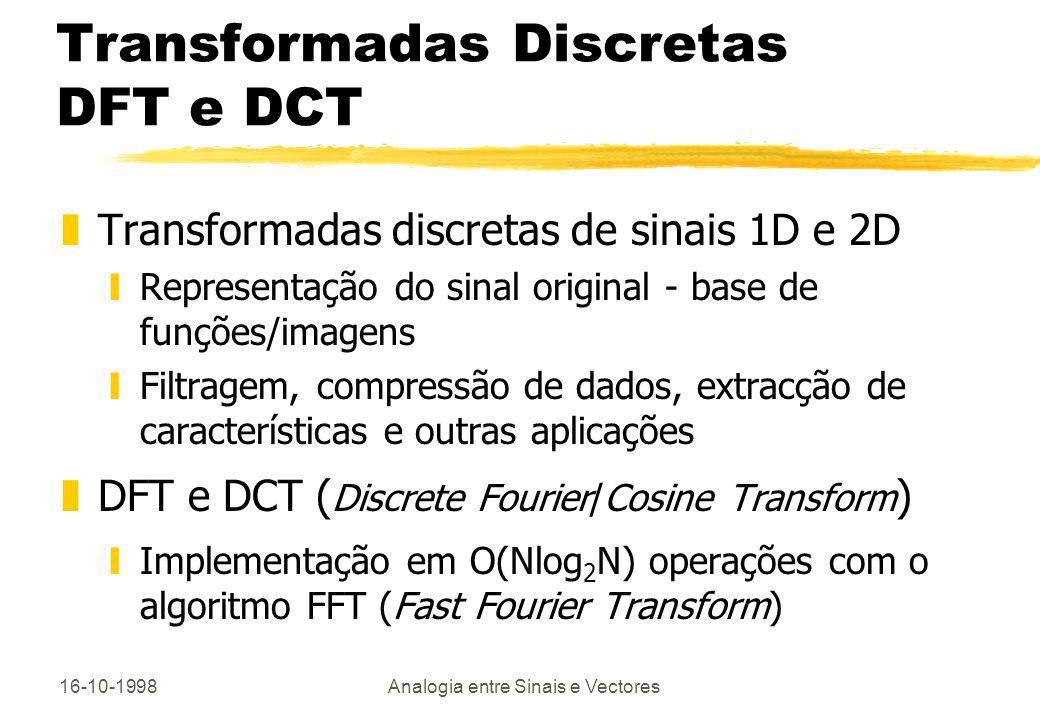 16-10-1998Analogia entre Sinais e Vectores Transformadas Discretas DFT e DCT zTransformadas discretas de sinais 1D e 2D yRepresentação do sinal origin