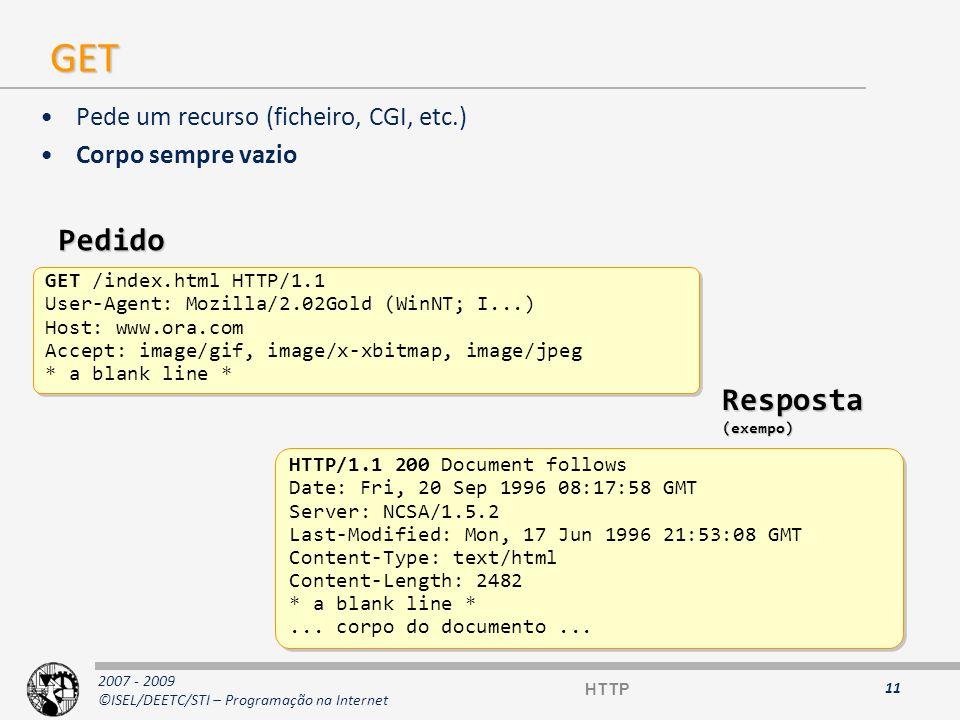 Realizar pedido HTTP GET Utilizar a aplicação telnet para realizar pedido a determinado servidor Web