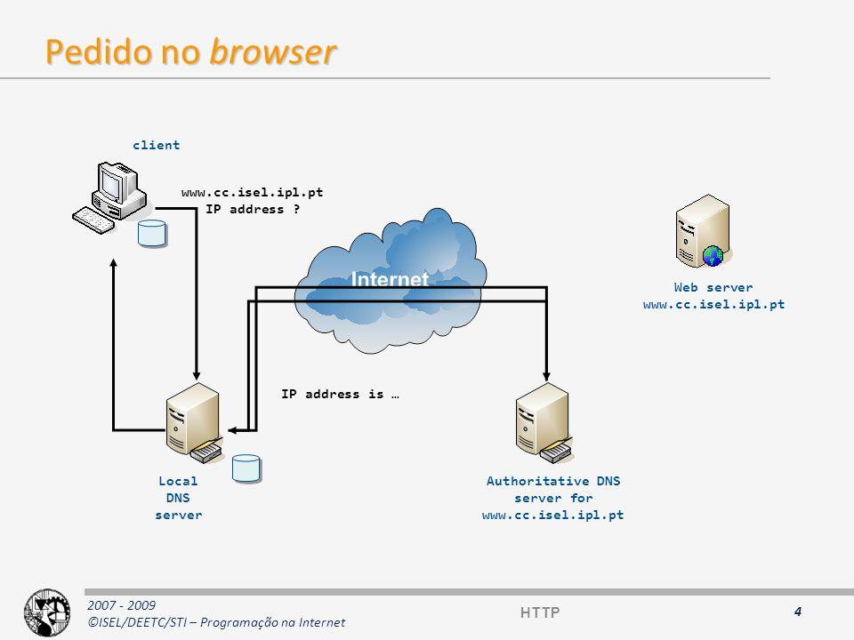 2007 - 2009 ©ISEL/DEETC/STI – Programação na Internet Pedido HTTP 5 HTTP HTTP/1.X { : }+ [ ] HTTP/1.X { : }+ [ ] GET /docu2.html HTTP/1.1 Accept: */* (outros exemplos: text/plain; text/html; image/gif ) User-Agent: Mozilla4.0 (compatible; MSIE 5.0; Windows NT 5.0) Host: www.isel.ipl.pt From: montulli@www.cc.ukans.edu * a blank line * GET /docu2.html HTTP/1.1 Accept: */* (outros exemplos: text/plain; text/html; image/gif ) User-Agent: Mozilla4.0 (compatible; MSIE 5.0; Windows NT 5.0) Host: www.isel.ipl.pt From: montulli@www.cc.ukans.edu * a blank line * SintaxeSintaxe - Path absoluto relativamente à raiz do servidor Web, ou URI (URL) absoluto.