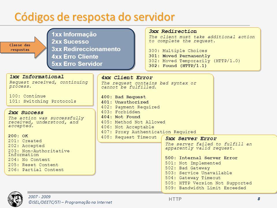 2007 - 2009 ©ISEL/DEETC/STI – Programação na Internet Cabeçalhos MIME (1) GeralGeral: informação não relacionada com a entidade a transferir –Date: Tue, 15 Nov 1994 08:12:31 GMT –MIME-Version: 1.0 Opções clienteOpções cliente: permite ao cliente passar informações acerca do pedido –Accept: */* –User-Agent: Lynx/2.2 libwww/2.14 –Range: bytes=0-499 –If-Modified-Since: Thu, 25 Sep 1997 15:01:26 GMT –Cookie:EGSOFT_ID=193.137.220.2-640807376.29152144; expires=Fri, 31-Dec-1997 0:00:00 GMT;path=/ 9 HTTP