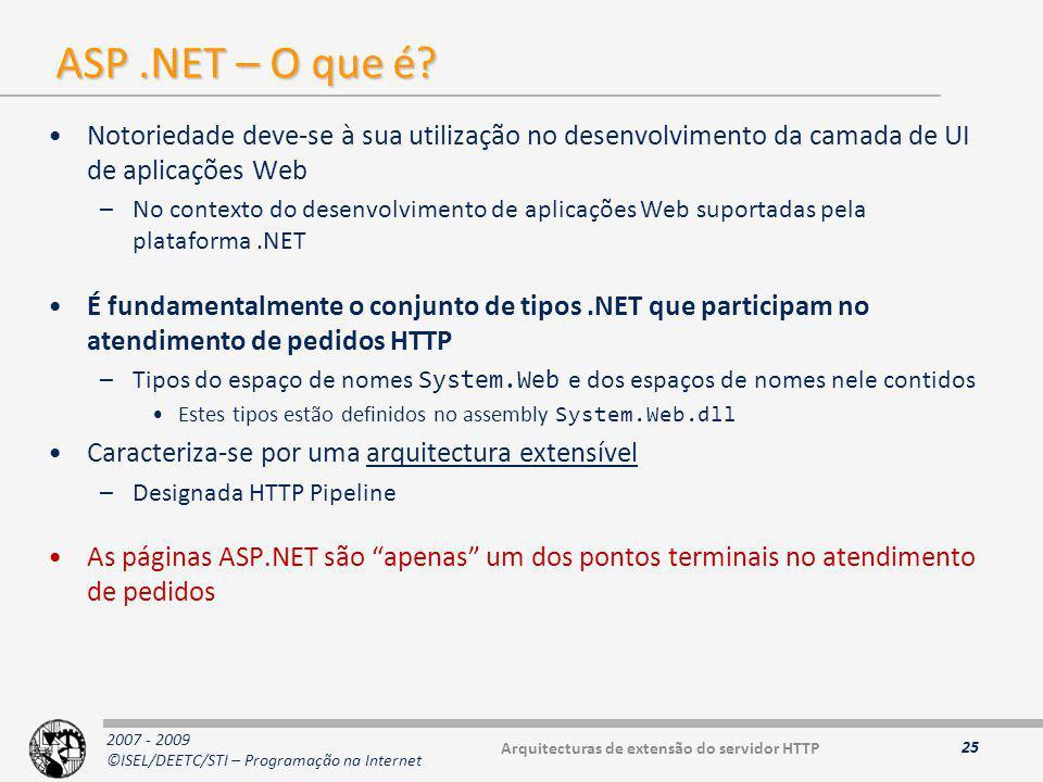 2007 - 2009 ©ISEL/DEETC/STI – Programação na Internet ASP.NET – O que é.