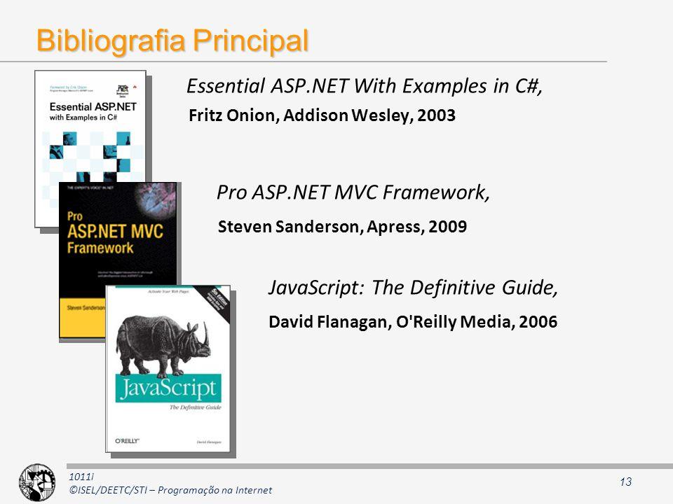 1011i ©ISEL/DEETC/STI – Programação na Internet Bibliografia Principal Essential ASP.NET With Examples in C#, Fritz Onion, Addison Wesley, 2003 Pro AS