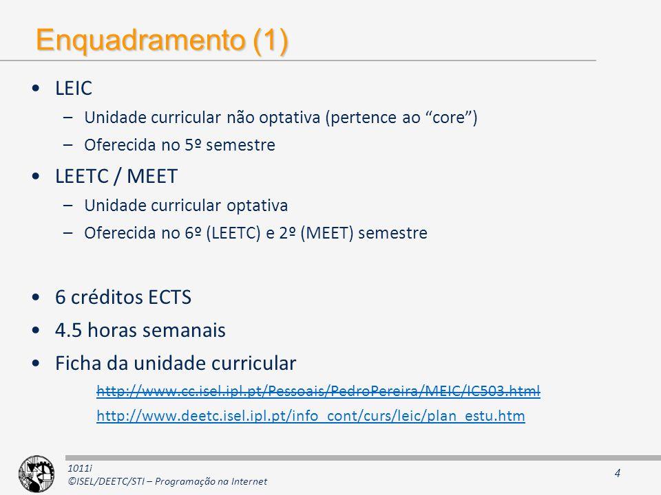 1011i ©ISEL/DEETC/STI – Programação na Internet Enquadramento (1) LEIC –Unidade curricular não optativa (pertence ao core) –Oferecida no 5º semestre L
