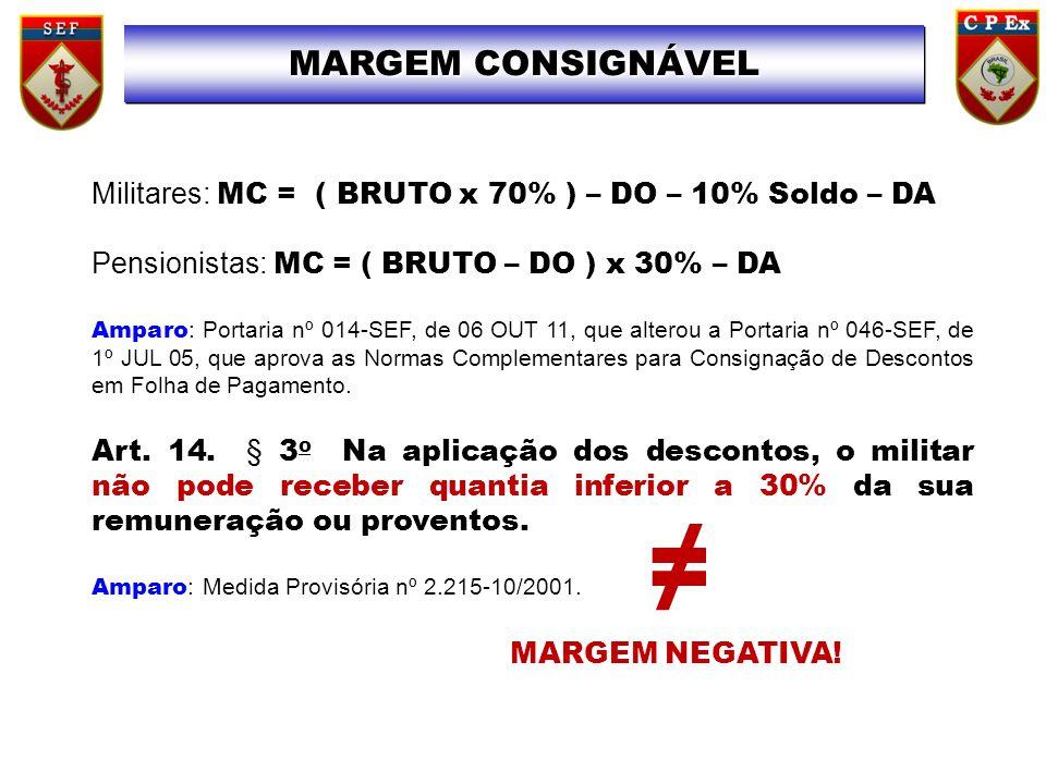 Militares: MC = ( BRUTO x 70% ) – DO – 10% Soldo – DA Pensionistas: MC = ( BRUTO – DO ) x 30% – DA Amparo : Portaria nº 014-SEF, de 06 OUT 11, que alterou a Portaria nº 046-SEF, de 1º JUL 05, que aprova as Normas Complementares para Consignação de Descontos em Folha de Pagamento.