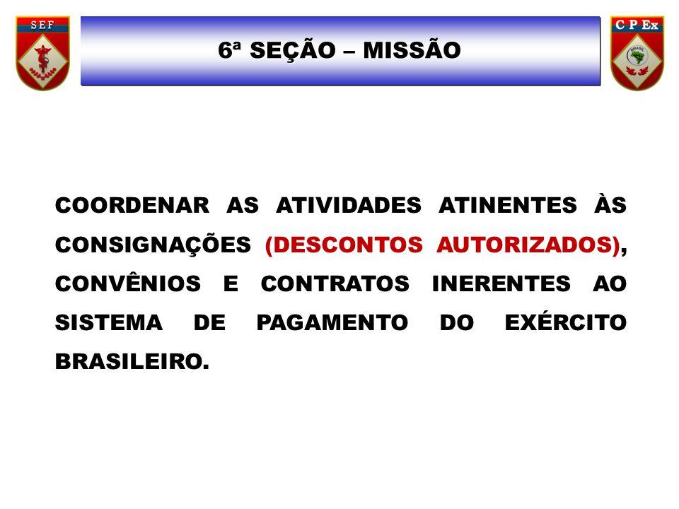 6ª SEÇÃO – 6ª SEÇÃO – MISSÃO COORDENAR AS ATIVIDADES ATINENTES ÀS CONSIGNAÇÕES (DESCONTOS AUTORIZADOS), CONVÊNIOS E CONTRATOS INERENTES AO SISTEMA DE PAGAMENTO DO EXÉRCITO BRASILEIRO.