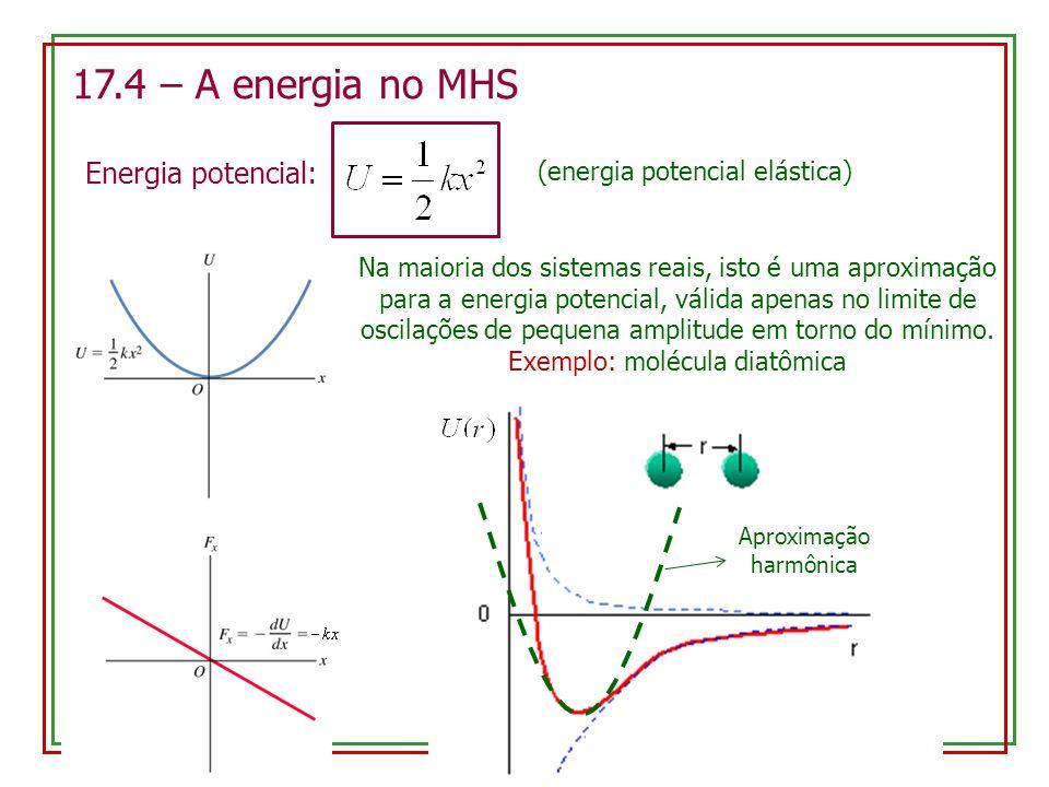17.4 – A energia no MHS Energia potencial: (energia potencial elástica) Na maioria dos sistemas reais, isto é uma aproximação para a energia potencial