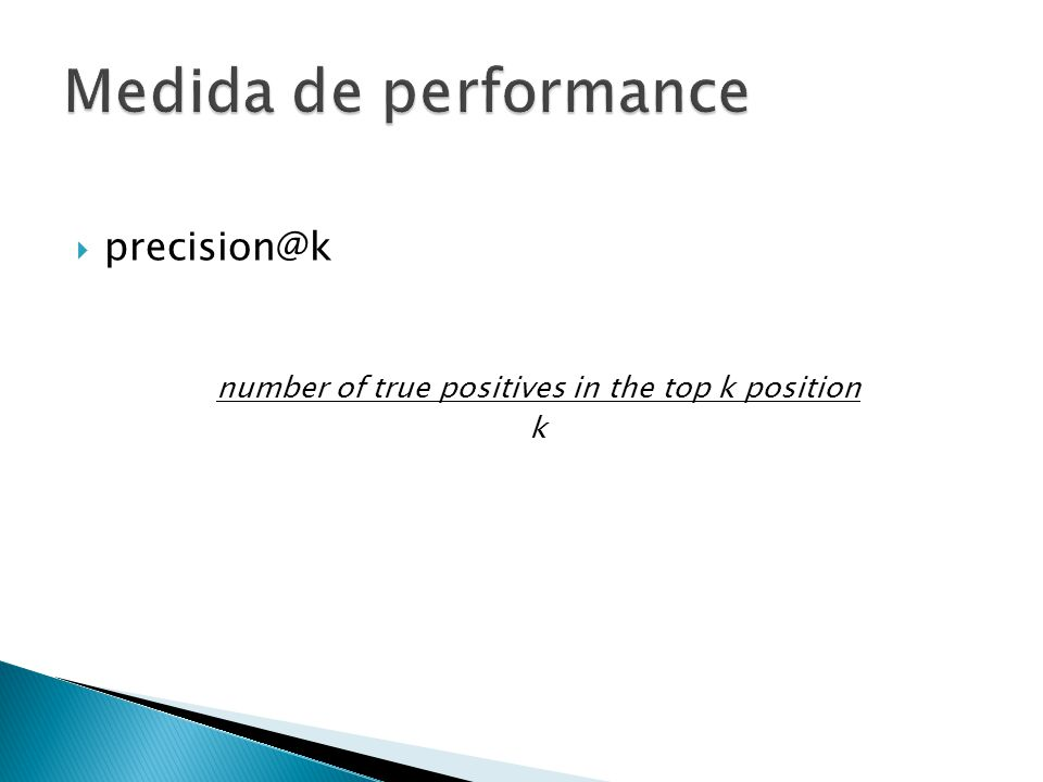 precision@k number of true positives in the top k position k