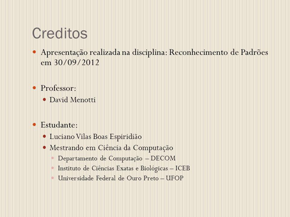 Creditos Apresentação realizada na disciplina: Reconhecimento de Padrões em 30/09/2012 Professor: David Menotti Estudante: Luciano Vilas Boas Espiridi