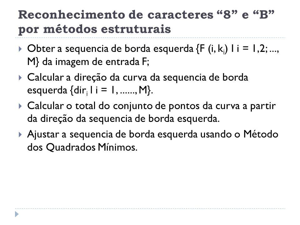 Reconhecimento de caracteres 8 e B por métodos estruturais Obter a sequencia de borda esquerda {F (i, k i ) I i = 1,2;..., M} da imagem de entrada F; Calcular a direção da curva da sequencia de borda esquerda {dir i l i = 1,......, M}.