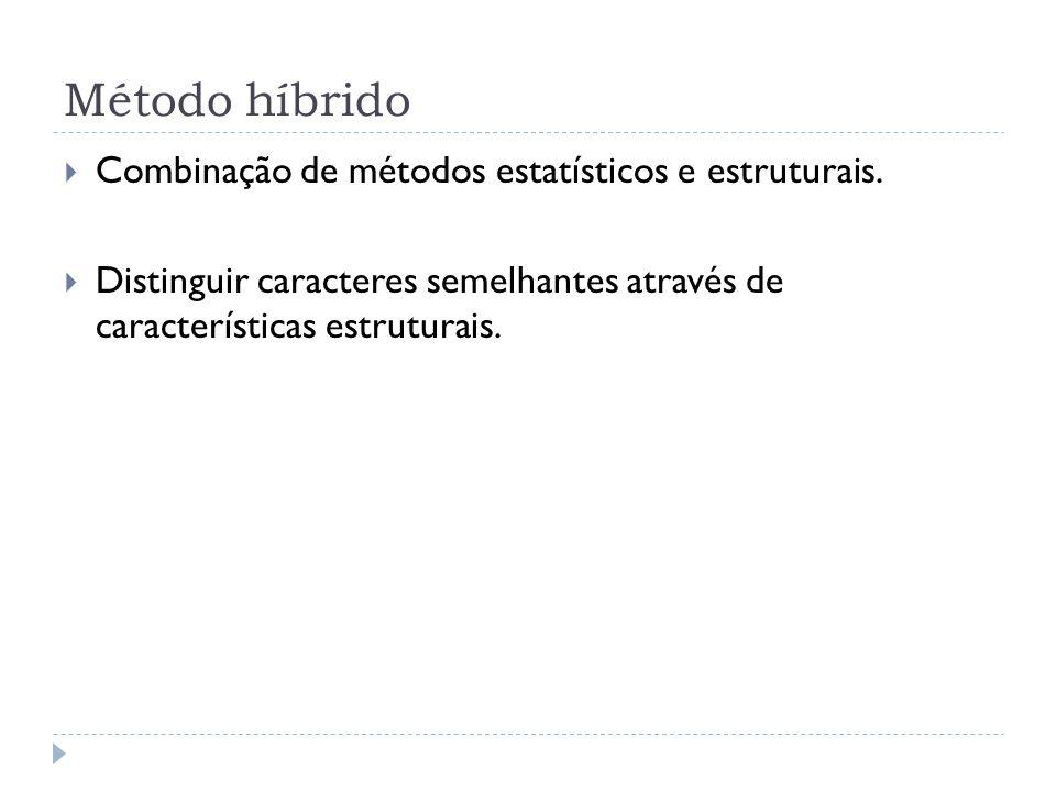 Método híbrido Combinação de métodos estatísticos e estruturais. Distinguir caracteres semelhantes através de características estruturais.