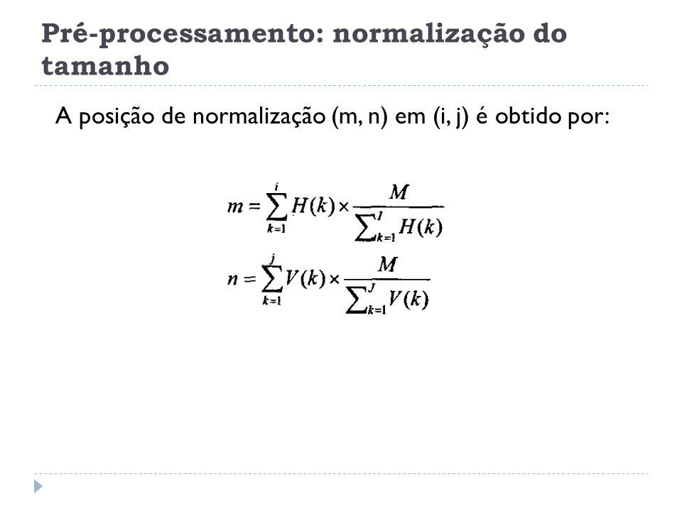 Pré-processamento: normalização do tamanho A posição de normalização (m, n) em (i, j) é obtido por: