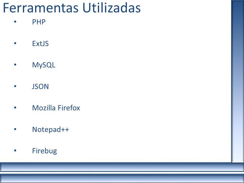 Ferramentas Utilizadas PHP ExtJS MySQL JSON Mozilla Firefox Notepad++ Firebug