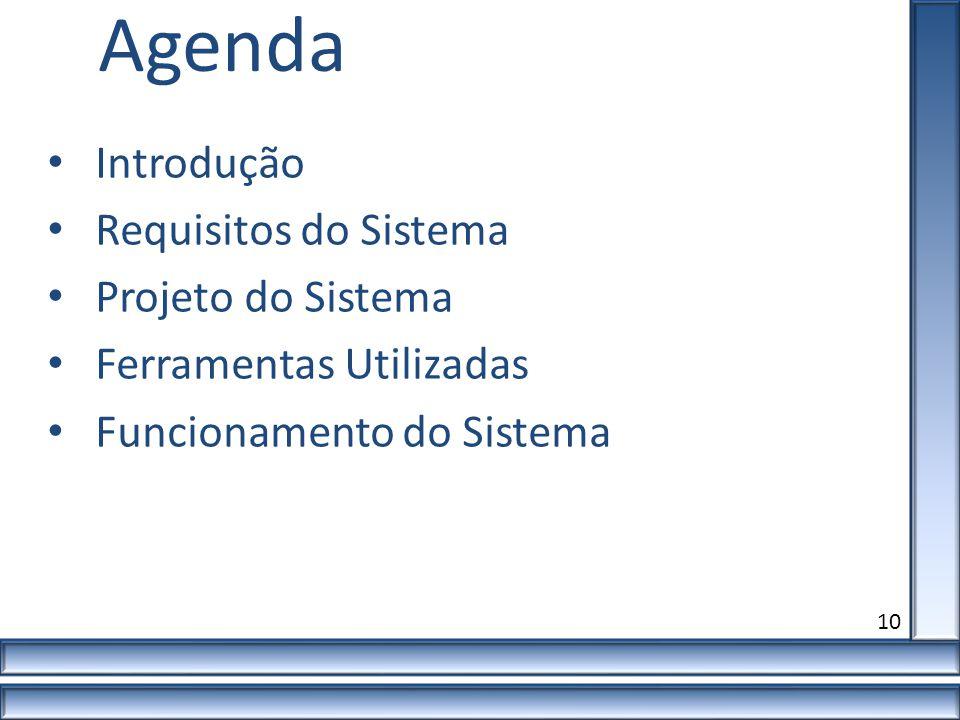 10 Agenda Introdução Requisitos do Sistema Projeto do Sistema Ferramentas Utilizadas Funcionamento do Sistema