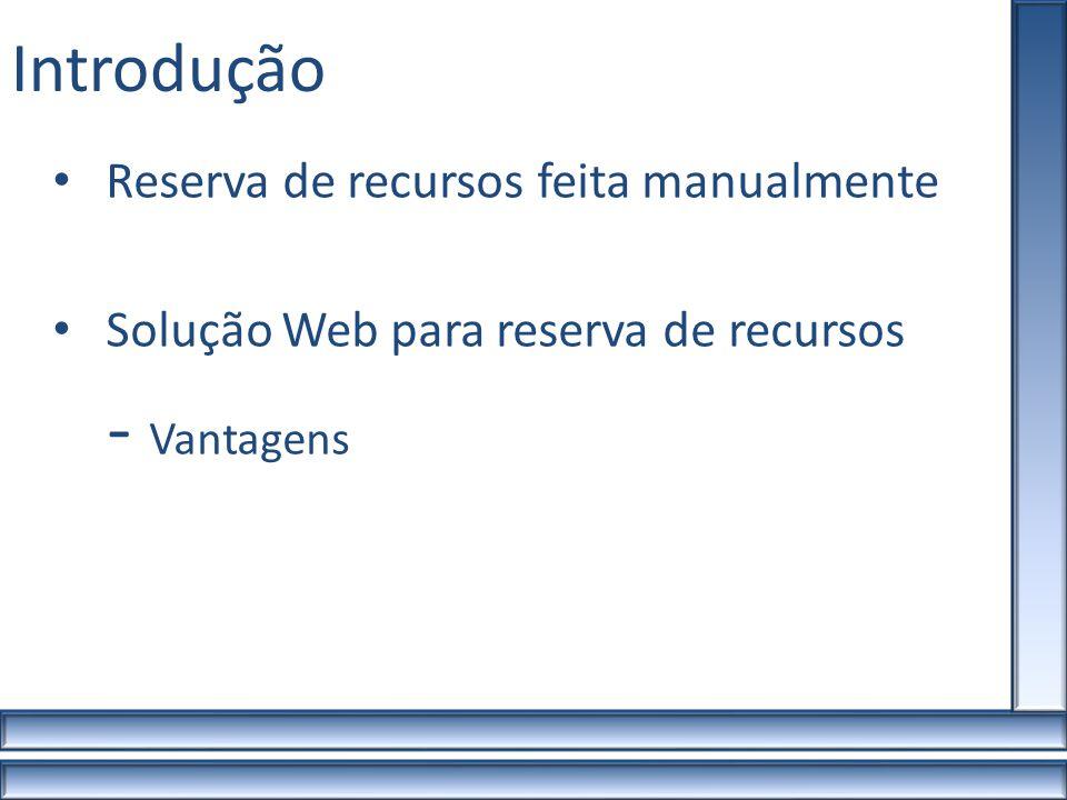 Requisitos do Sistema Administrador Manipular reservas, recursos e usuários Professores/Técnico Administrativo Visualizações Manipulação de suas reservas Aluno Apenas Visualizações Usuários e Tarefas