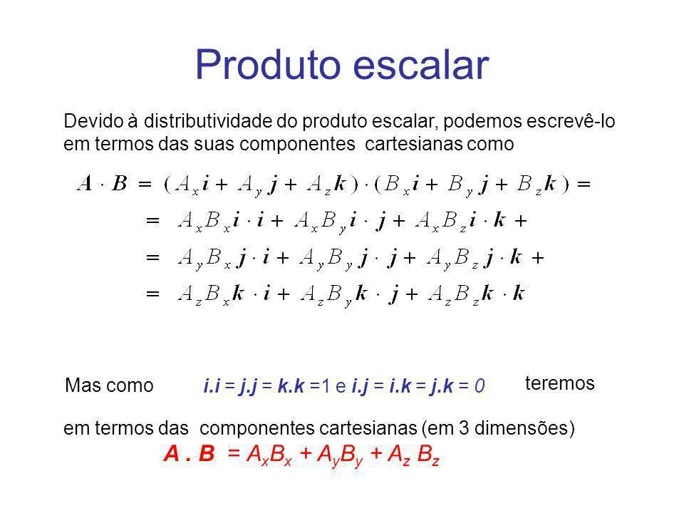 em termos das componentes cartesianas (em 3 dimensões) A. B = A x B x + A y B y + A z B z Produto escalar Devido à distributividade do produto escalar