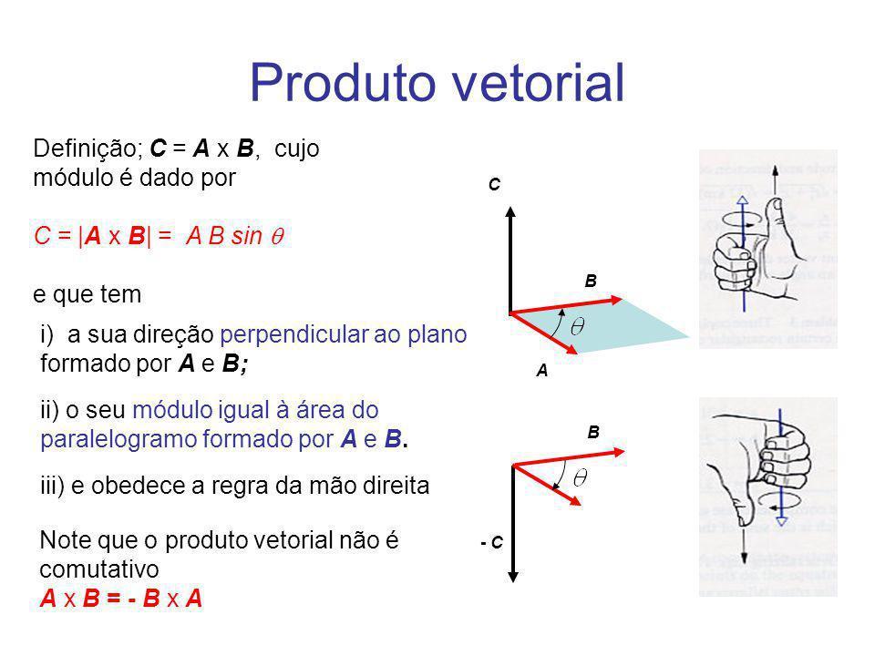 Produto vetorial C - C B A Definição; C = A x B, cujo módulo é dado por C = |A x B| = A B sin e que tem Note que o produto vetorial não é comutativo A
