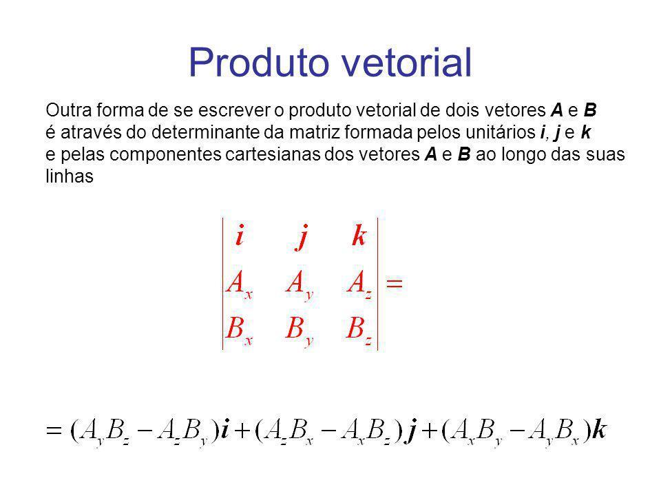 Outra forma de se escrever o produto vetorial de dois vetores A e B é através do determinante da matriz formada pelos unitários i, j e k e pelas compo