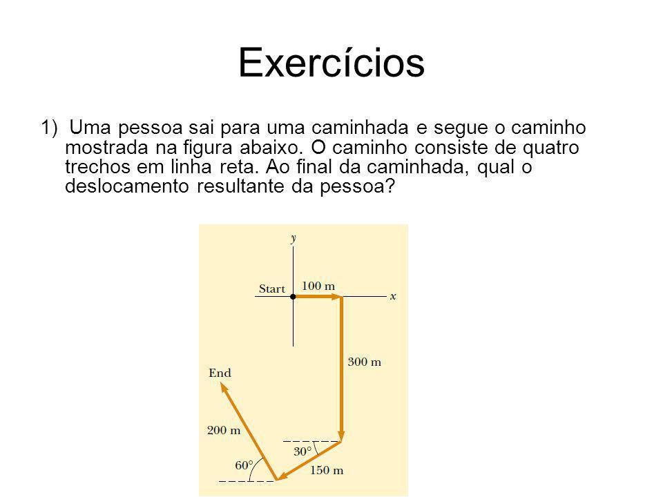 Exercícios 1) Uma pessoa sai para uma caminhada e segue o caminho mostrada na figura abaixo. O caminho consiste de quatro trechos em linha reta. Ao fi